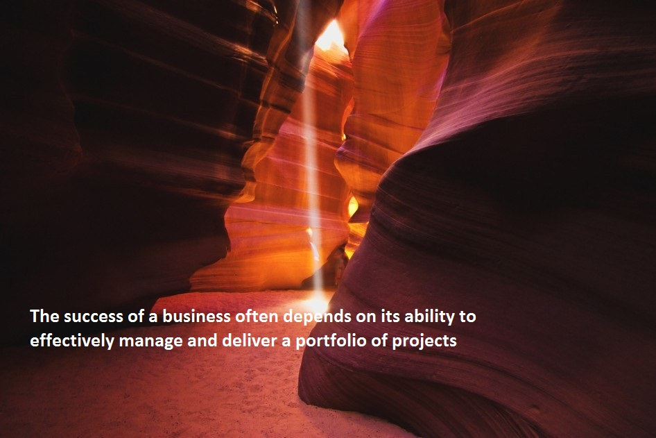 Photo of rock formations with caption the success of a business often depends on its ability to effectively manage and deliver a portfolio of projects