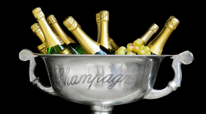 Bottles of Champagne in a trophy