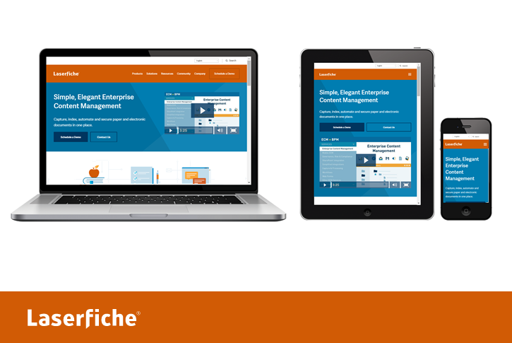 Devices showing the Laserfiche website