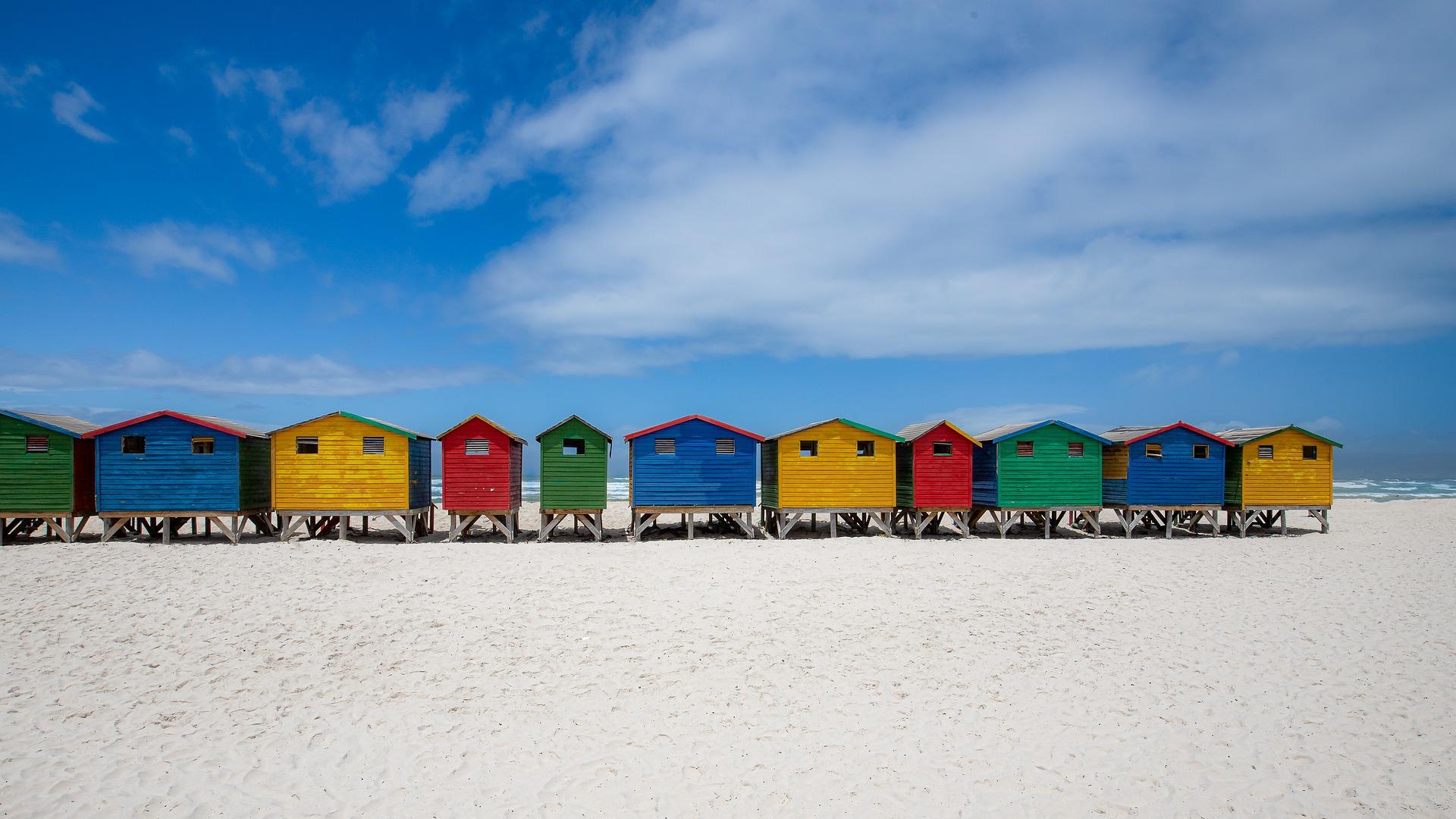 Multicoloured beach houses