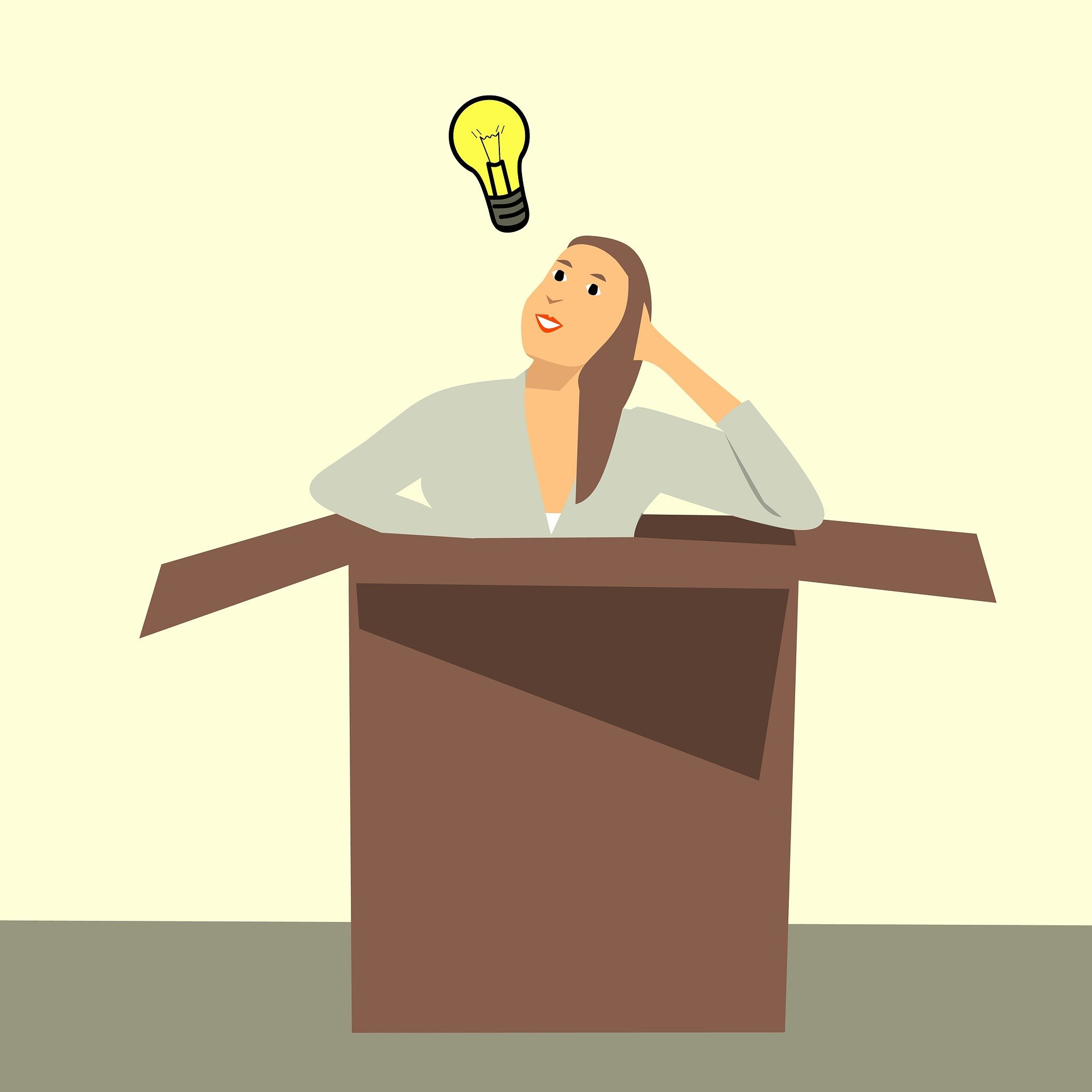 Cartoon woman in a box with a lightbulb above her hear