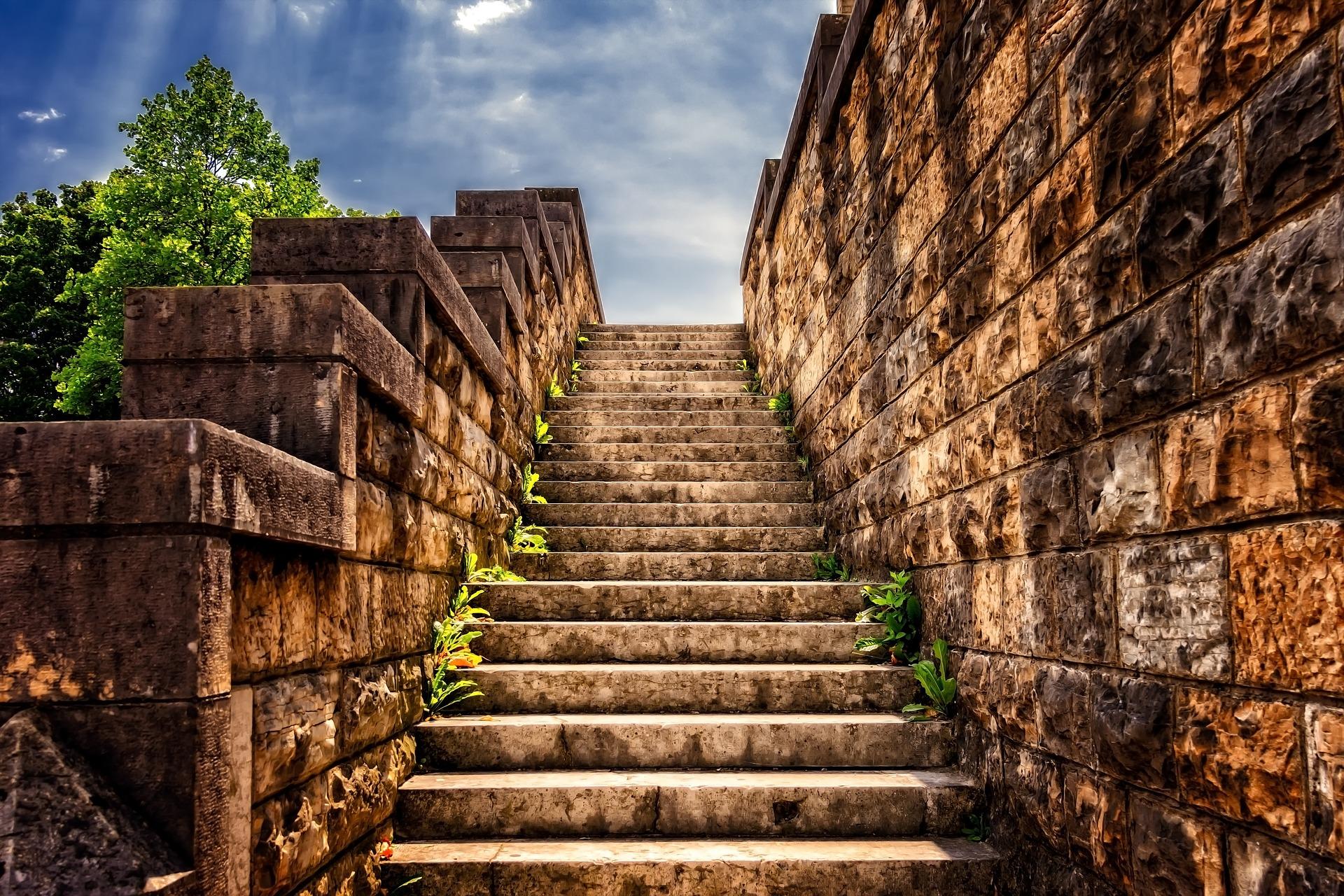 Brick steps heading up